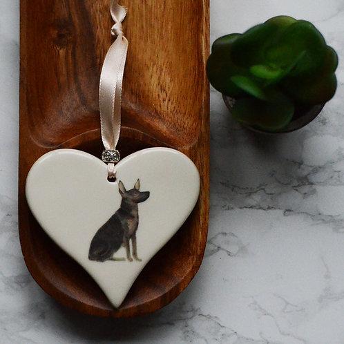 German Shepherd / Alsatian Ceramic Heart
