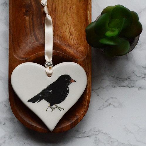 Black Bird Ceramic Heart
