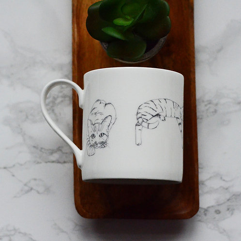 Sketched Cats Fine Bone China Mug