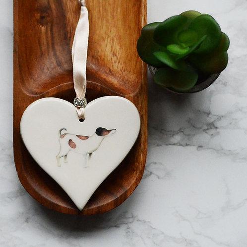 Jack Russell Ceramic Heart