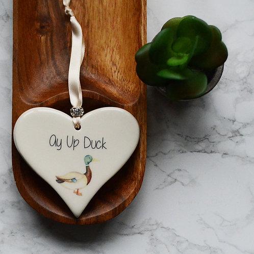 Ay Up Duck Ceramic Heart