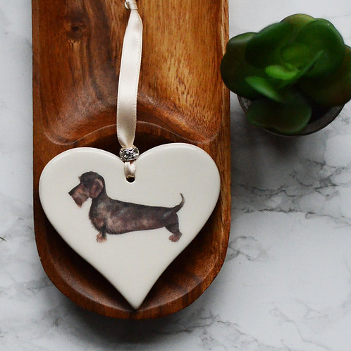 Wire Haired Dachshund Ceramic Heart