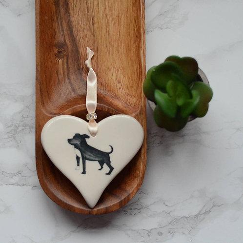 Staffordshire Bull Terrier Ceramic Heart