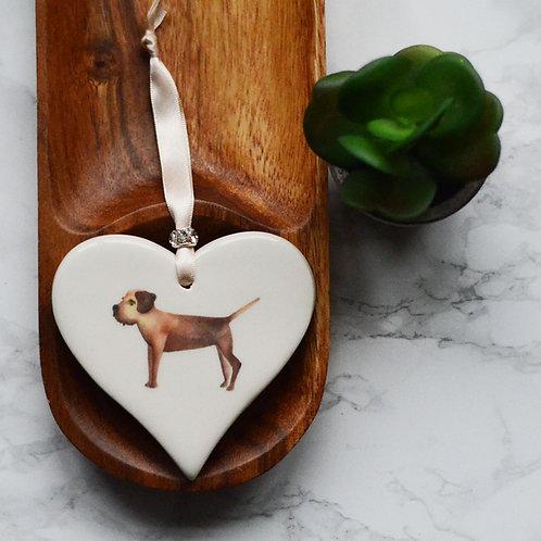 Border Terrier Ceramic Heart