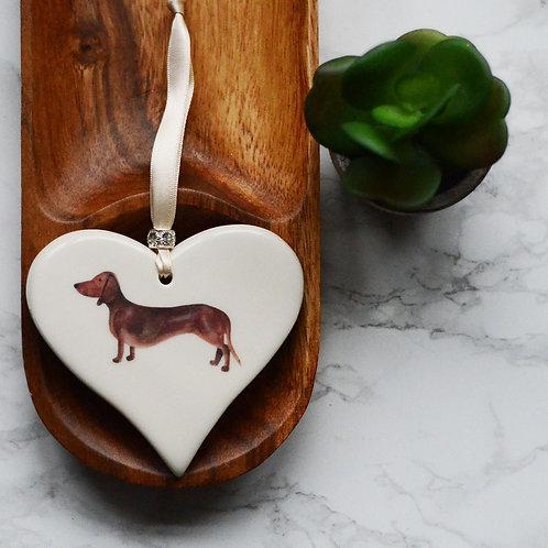 Smooth Haired Dachshund Ceramic Heart