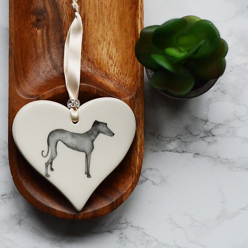 Greyhound Ceramic Heart