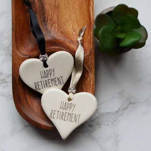 Happy Retirement Ceramic Heart