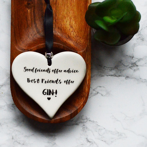 Friendship & Gin Ceramic Hearts