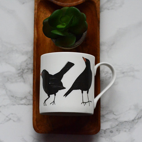 Black Bird Fine Bone China Mug