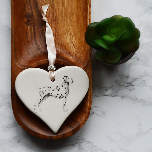 Dalmation Ceramic Heart