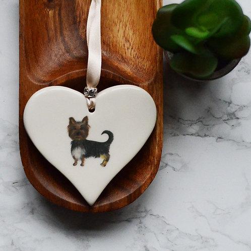 Yorkshire Terrier Ceramic Heart