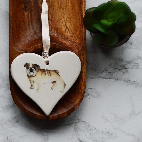 English Bulldog Ceramic Heart