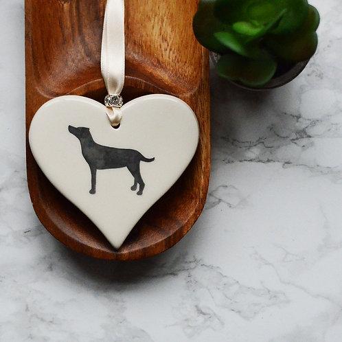 Standing Labrador Ceramic Heart