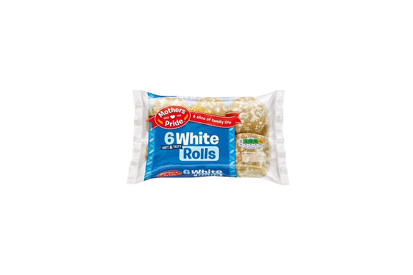 Mothers Pride Soft & Tasty White Rolls (Pack of 6)