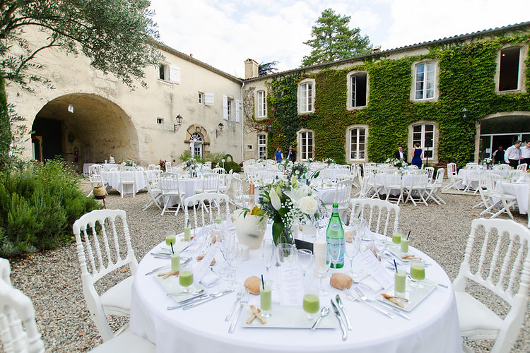 Dinner in the courtyard at Chateau de Malliac