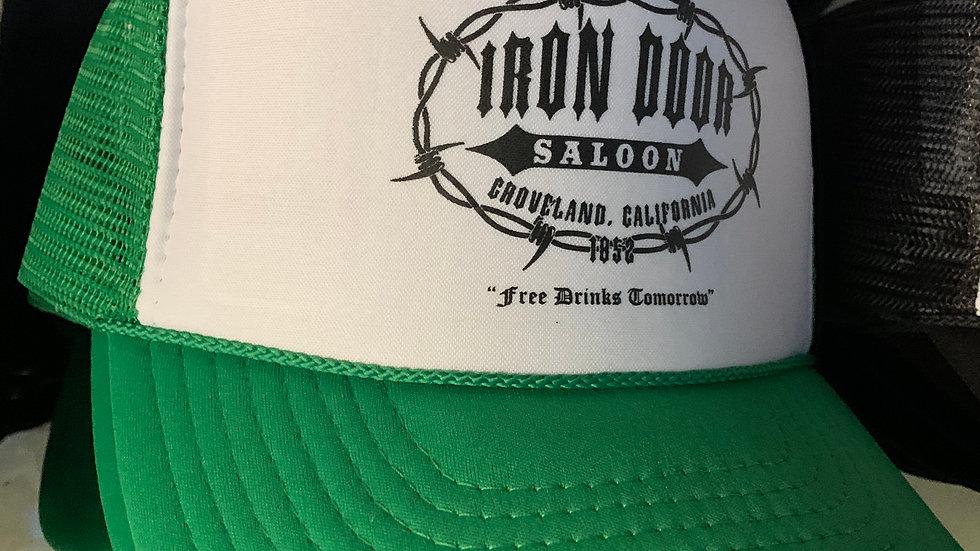 Green & White Iron Door Trucker Hat