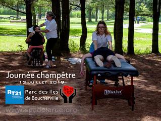 Massages en plein air pour les familles du Regroupement pour la Trisomie 21