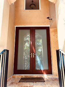 Entrance Wood Grain Aluminum Impact Door