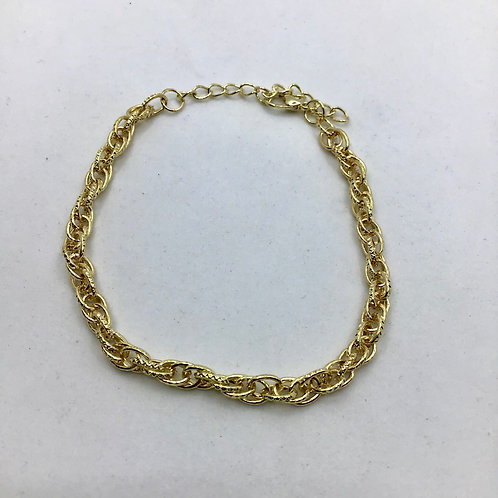 Thin Gold Multi-Textured Anklet