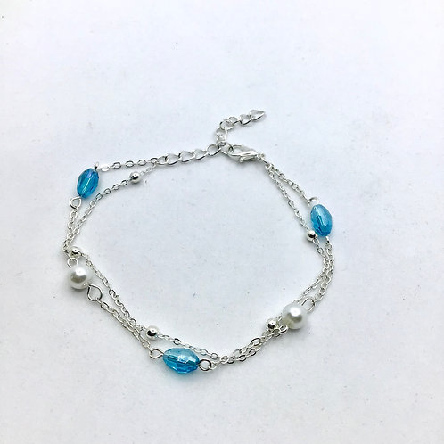 Silver Multi-Color Beaded Anklet