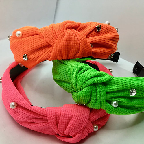 Blinged Out Neon Knotted Headband