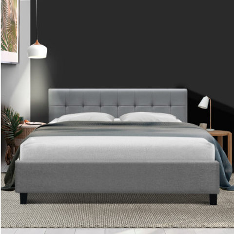 Bed Frame King Size Base Mattress Platform Fabric Wooden Grey SOHO