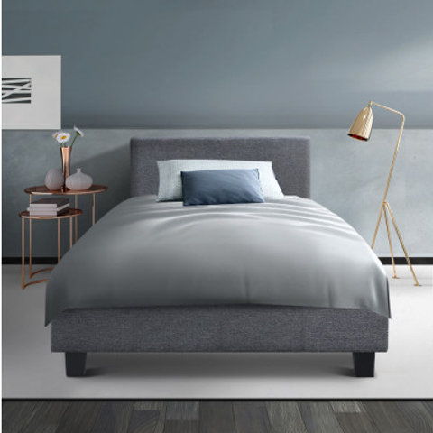 Bed Frame King Single Full Size Base Mattress Platform Fabric Wooden Grey NEO