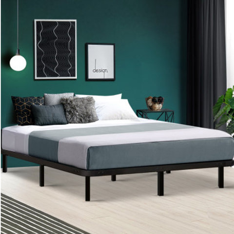 Artiss Double Size Metal Bed Base Frame - Black