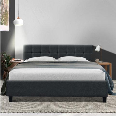 Bed Frame King Size Base Mattress Platform Fabric Wooden Charcoal SOHO