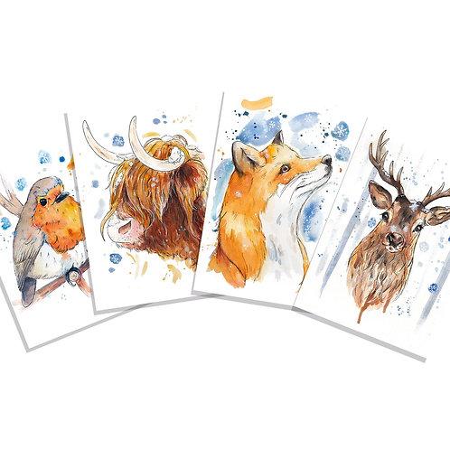 Animal Christmas Cards - 8 Pack