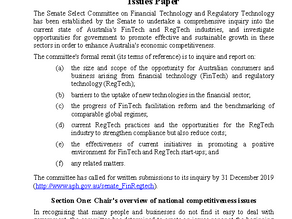 Australian Senate Fintech Inquiry Issues Paper is here