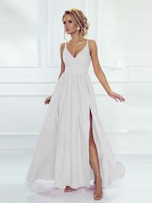 Вечернее платье в пол  белое 1758