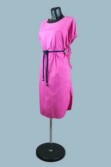 Платье миди фуксия. Италия. Хлопок. Размер: 48-50
