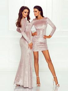 Вечернее платье в пол серебрянное блестящее 1755