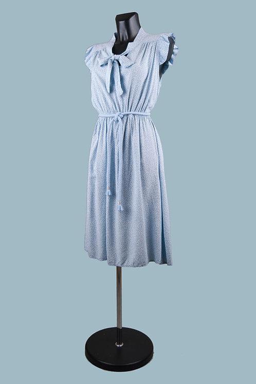 Летнее платье с бантомв мелкий цветочек голубое. Италия. Вискоза. Размер: 42-48