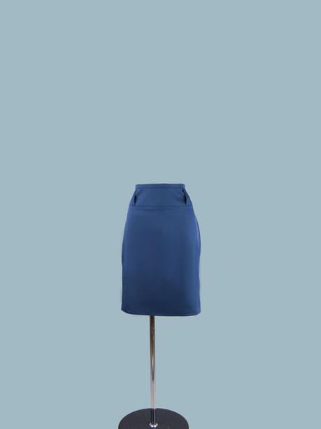 Юбка классическая синяя 9527