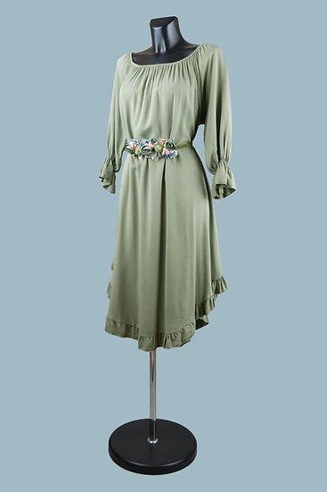 Платье с асимметричным низом  хаки 2305