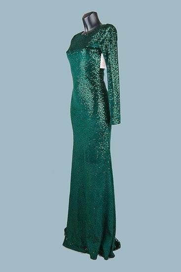 Вечернее платье на подкладке с блестками зеленое. Польша. Размер: 42-44