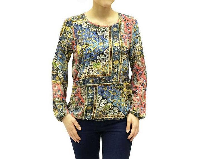 Нарядная блузка с длинным рукавом джинсового цвета 101401