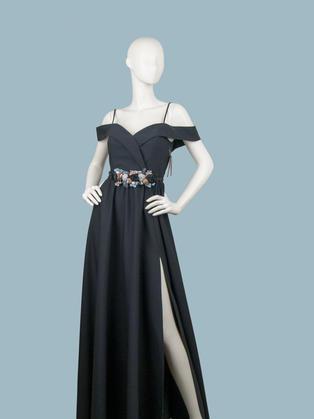 Вечернее платье в пол черное с открытыми плечами  для выпускного свадьбы 1757