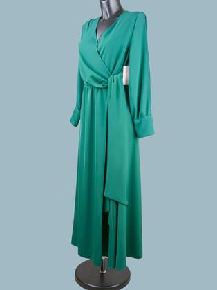 Нарядное длинное платье зеленое 2171