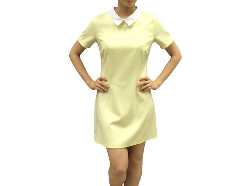 Платье желтое с белым фото