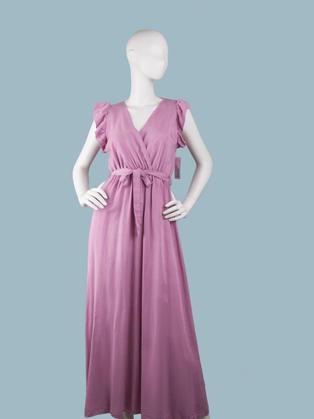 Длинное летнее платье с запахом сиреневое