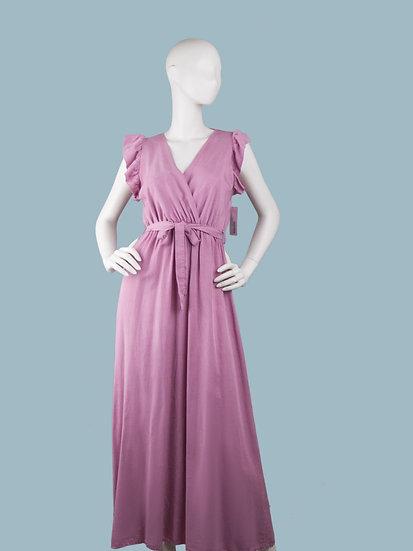 Летнее длинное нарядное платье с вырезом запах сиреневое. Размер: 42-50. Италия. 100% лиоцелл.