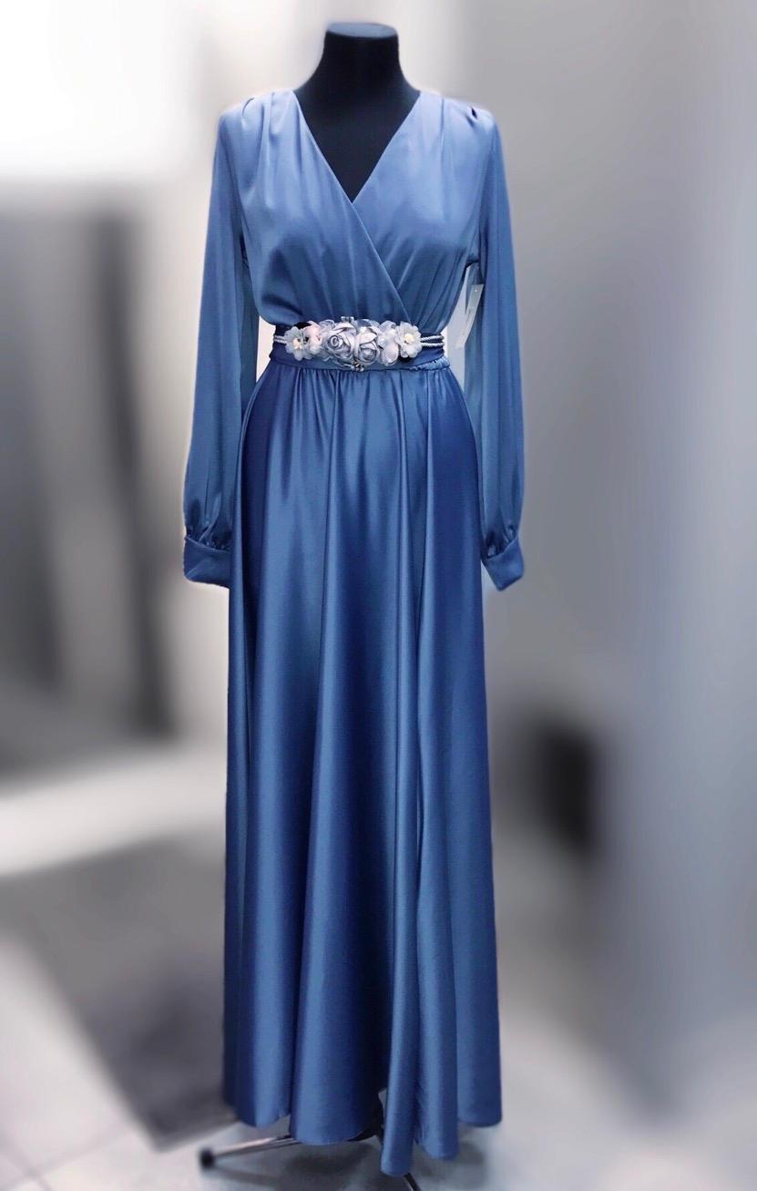 Вечернее платье в пол голубое 26243044