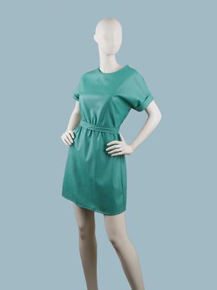 Платье  кожаное мятное 2507791