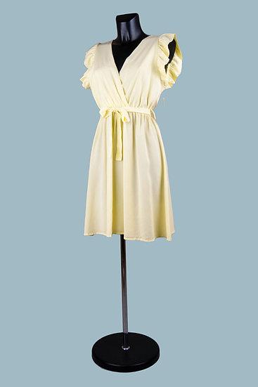 Летнее нарядное платье с вырезом-запах светло- желтое. Размер: 42-50. Италия. 100% лиоцелл