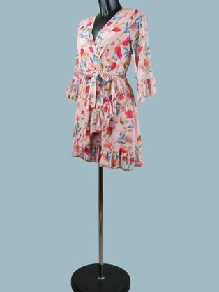Платье мини шифоновое с запахом розовое