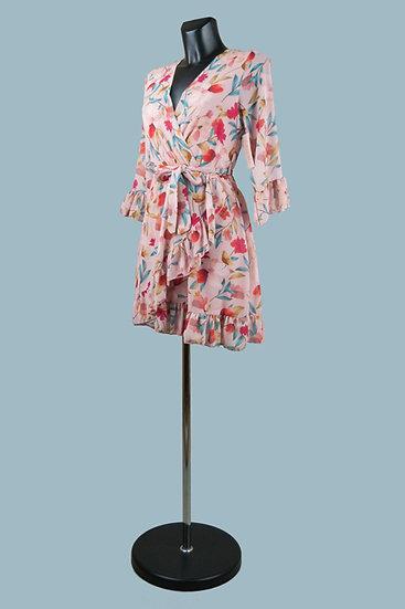Шифоновое платье на подкладке с запахом розовое. Италия. Размер: 42-46