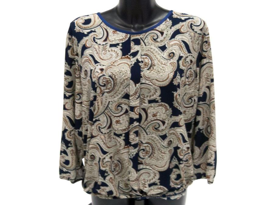 Нарядная женская блузка синяя с бежевым узором 127004